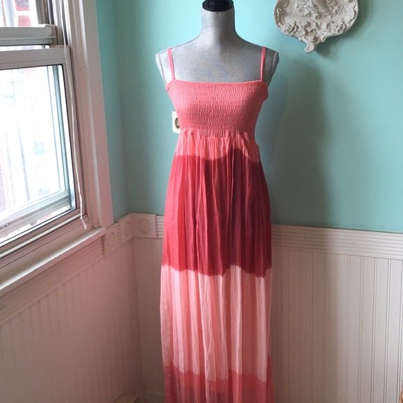 """M Dresses & Skirts - """"M"""" made in Italy flowy silk maxi dress coral"""
